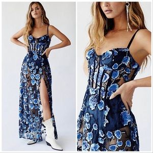 For Love & Lemons Victoria Blue Sequin Maxi dress